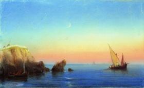 Spokojne morze-skaliste wybrzeże 1860