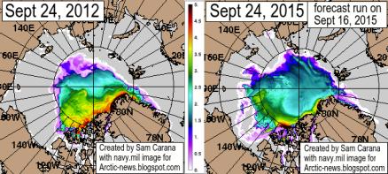 Grubość lodu morskiego Arktyki - 24 września 2012, 2015