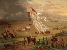 """""""Amerykański postęp"""" autor John Gast (1872)"""